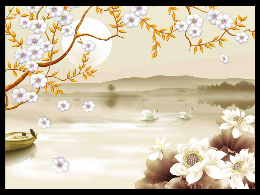 手绘樱花荷花天鹅湖唯美背景墙