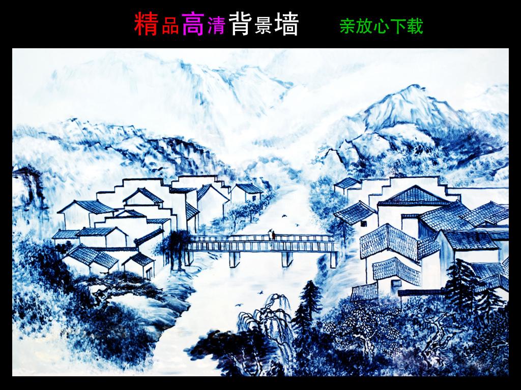 乡间小桥流水水墨画国画风景画装饰画