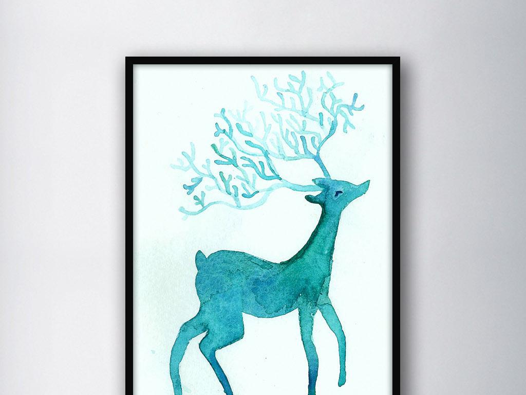 浅蓝色麋鹿手绘水彩北欧简约现代家居装饰画