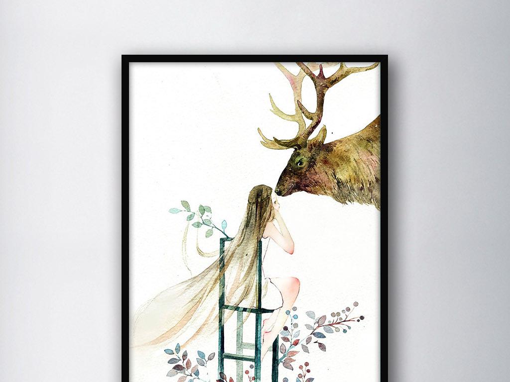 森林之神麋鹿女孩手绘二次元现代家居装饰画