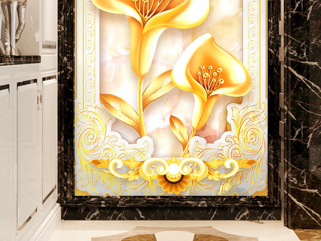 高档金色欧式石纹花卉玄关背景墙2