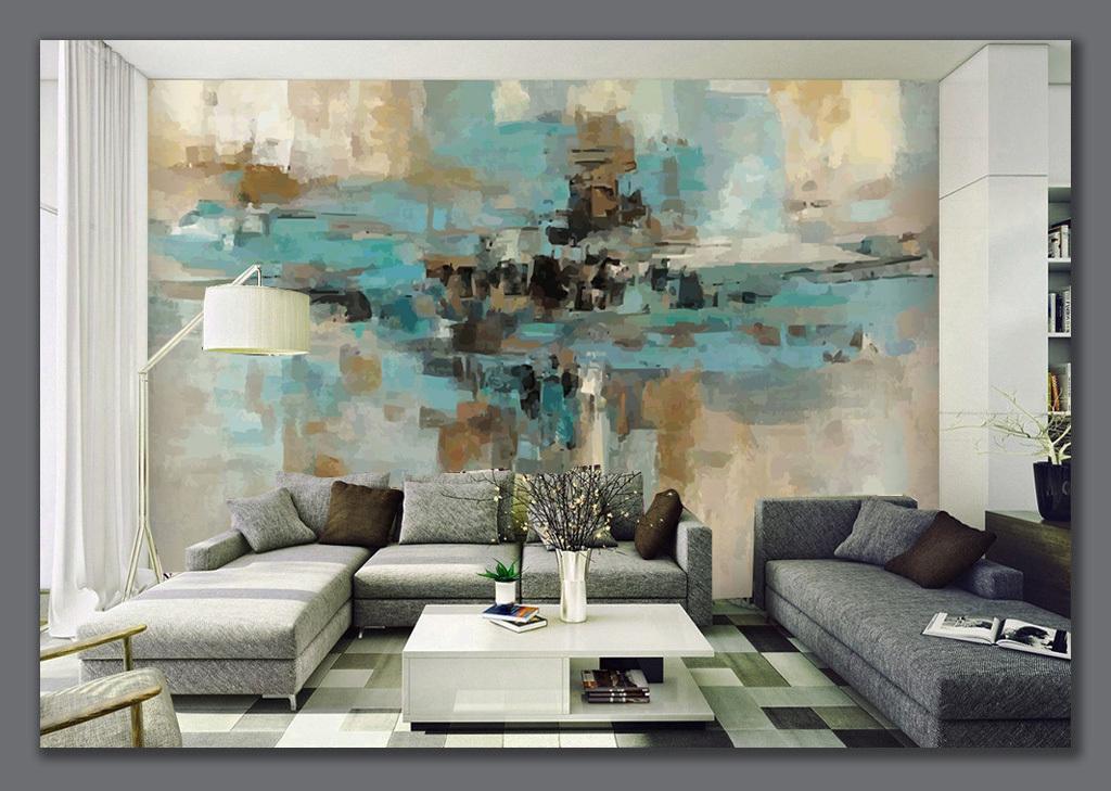 抽象画背景墙手绘航母背景