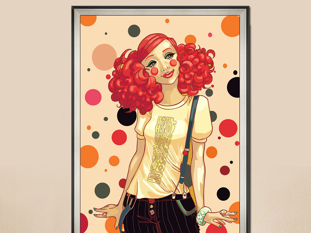 手绘卡通卡通装饰画卡通女孩卡通插画装饰画插画青春美少女欧美女孩