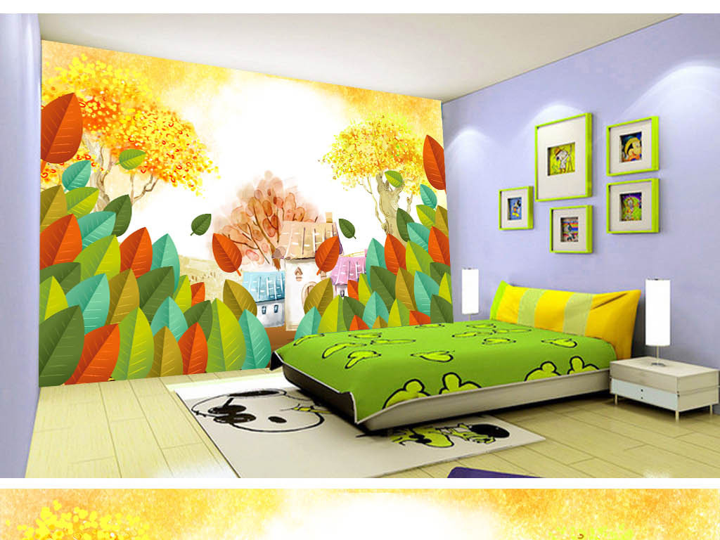 乡间深林卡通儿童房间背景墙设计模板