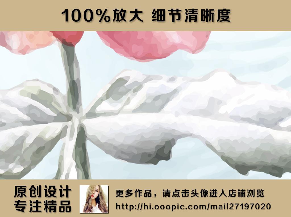 欧式风格复古水彩牡丹花卉电视背景墙