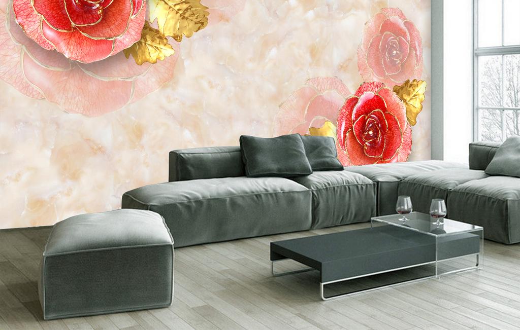 奢华欧式玫瑰花朵大理石电视背景墙(图片编号:)