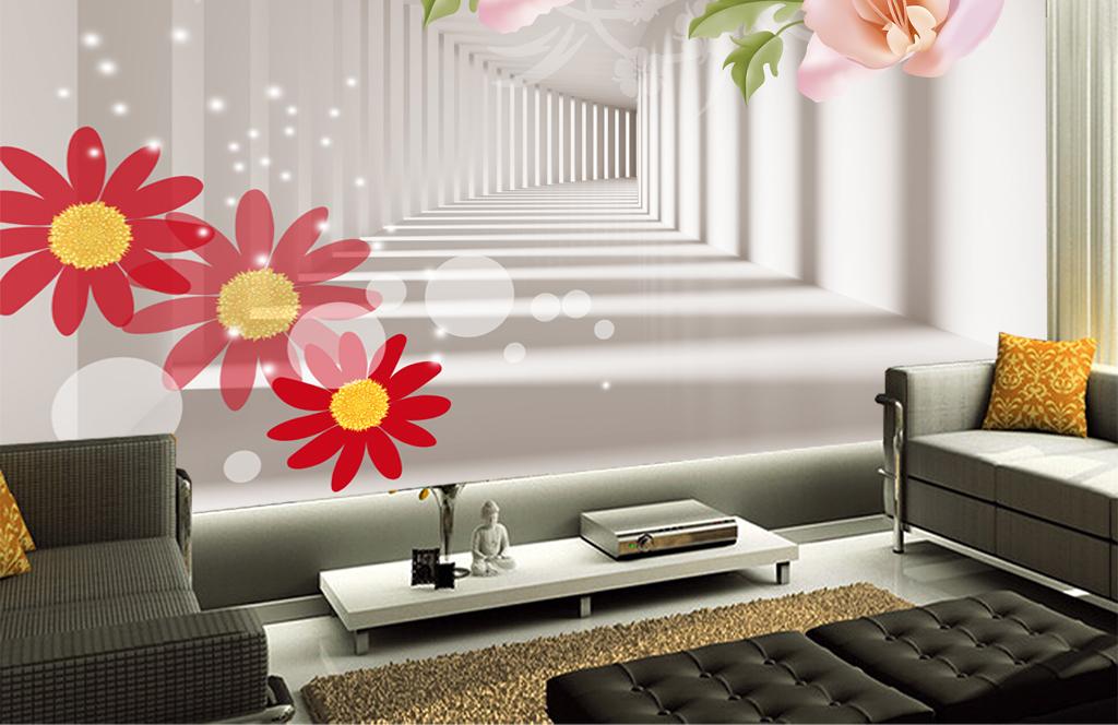 3d空间手绘花朵电视背景墙
