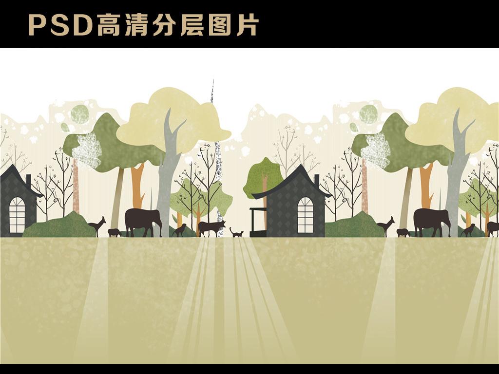清新唯美手绘卡通森林动物小屋电视背景墙