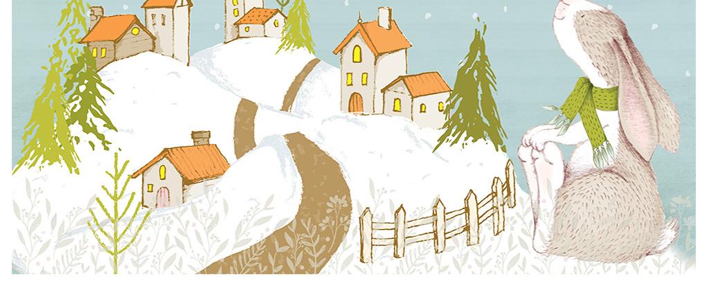 现代简约雪花小屋森林小动物卡通手绘背景墙