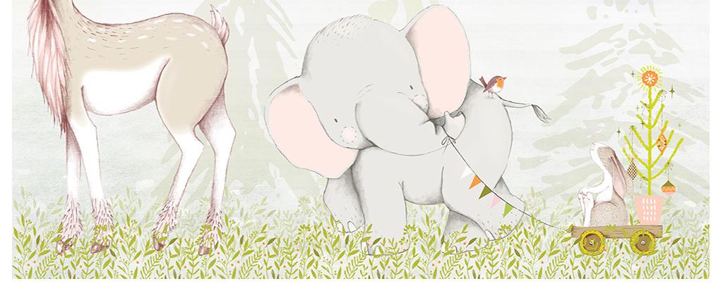 北欧简约手绘卡通小动物鹿大象儿童背景墙
