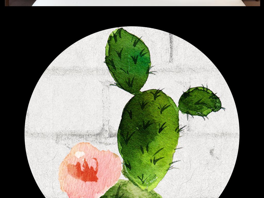 现代简约水彩手绘小清新森系装饰画白砖墙仙人掌