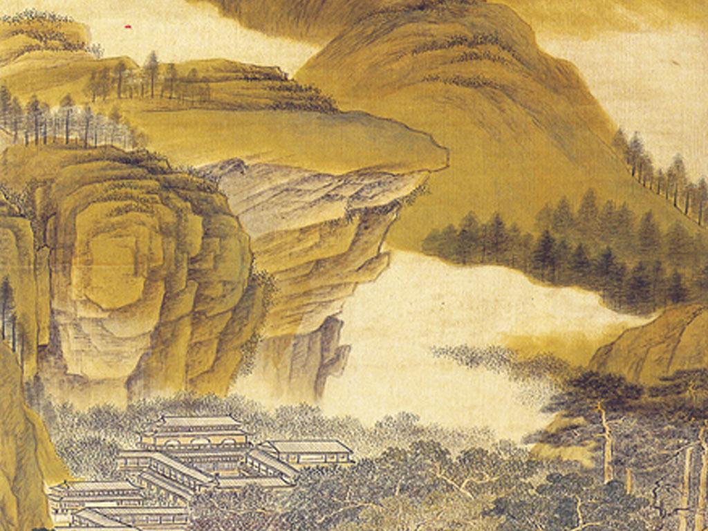 中式宫廷山水古画玄关壁画图片设计素材_高清模板下载图片