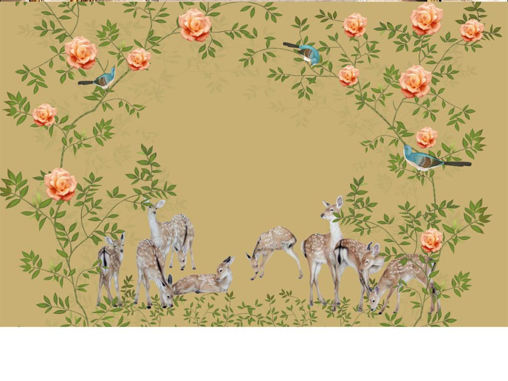 高清手绘工笔花鸟壁画背景