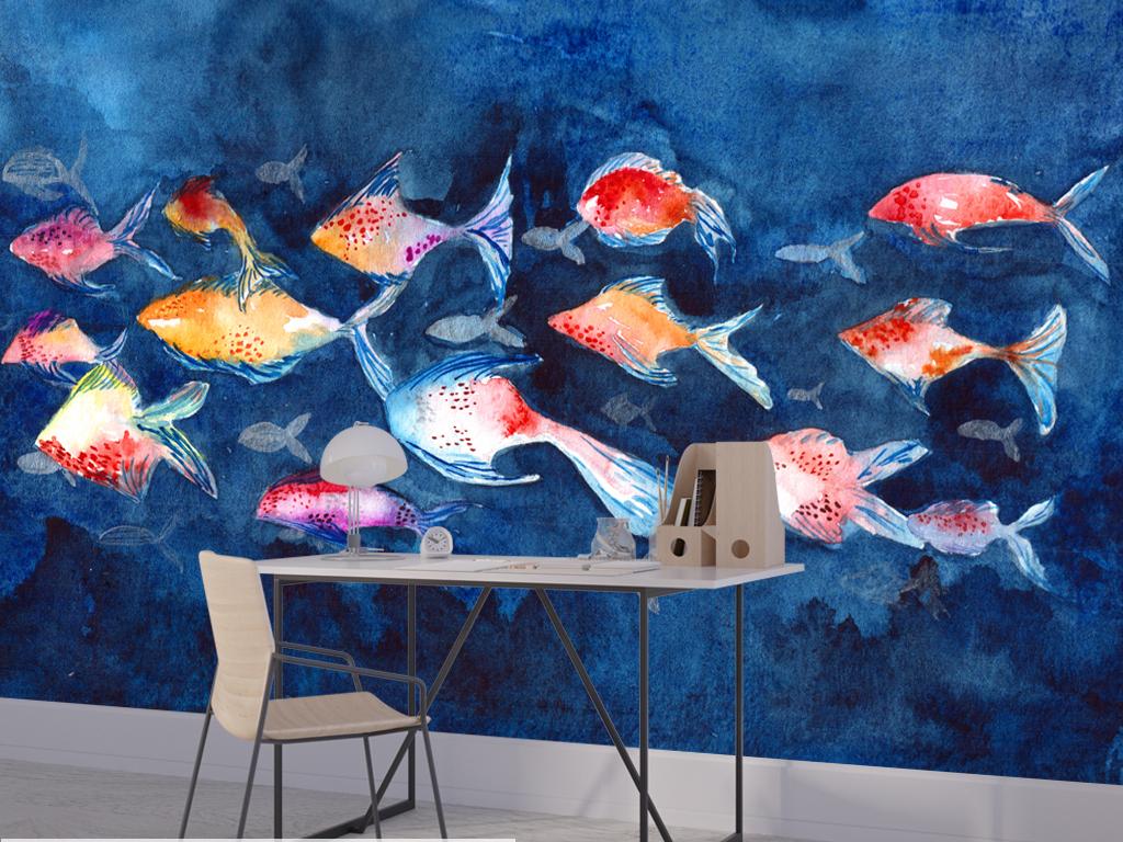 梦幻浪漫花卉花朵手绘水彩新中式鱼鲤鱼金鱼画布水彩手绘手绘背景水彩