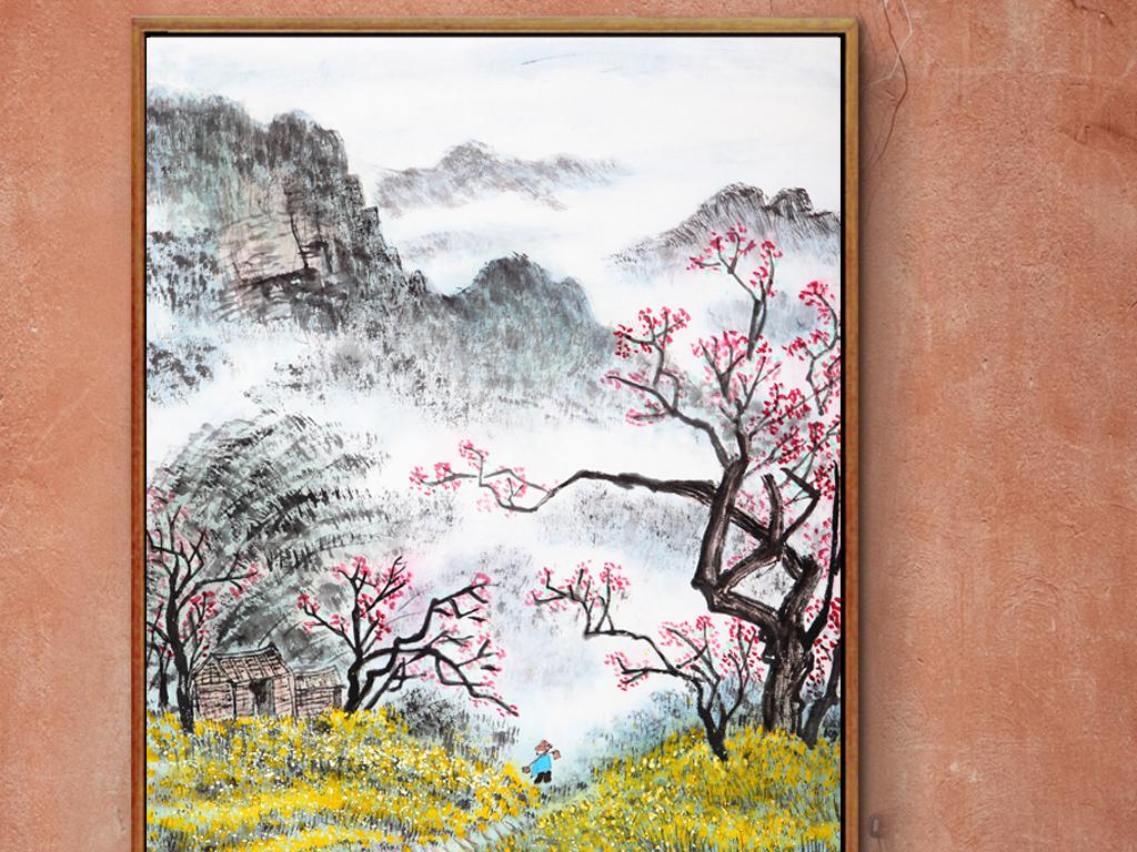 中国传统绘画乡间景观装饰画