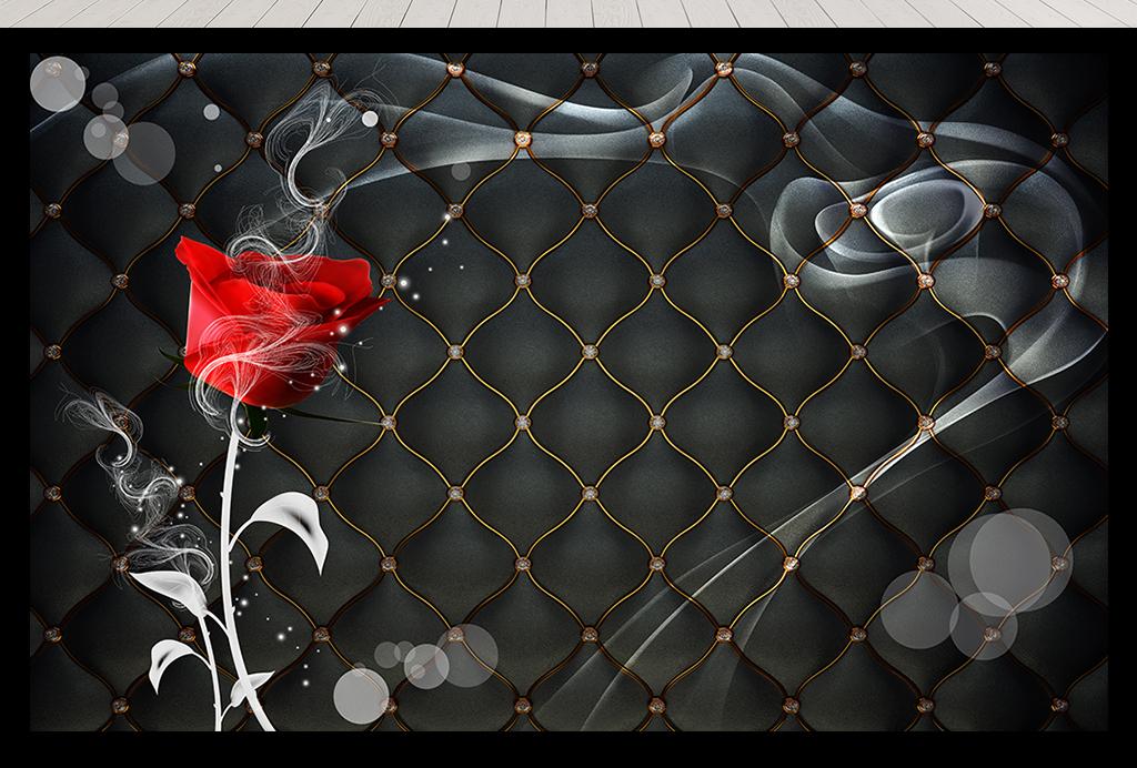 玫瑰花烟雾黑色软包背景墙