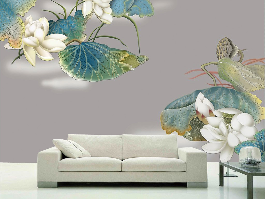 莲花爱莲说手绘水彩国画现代新中式背景墙画