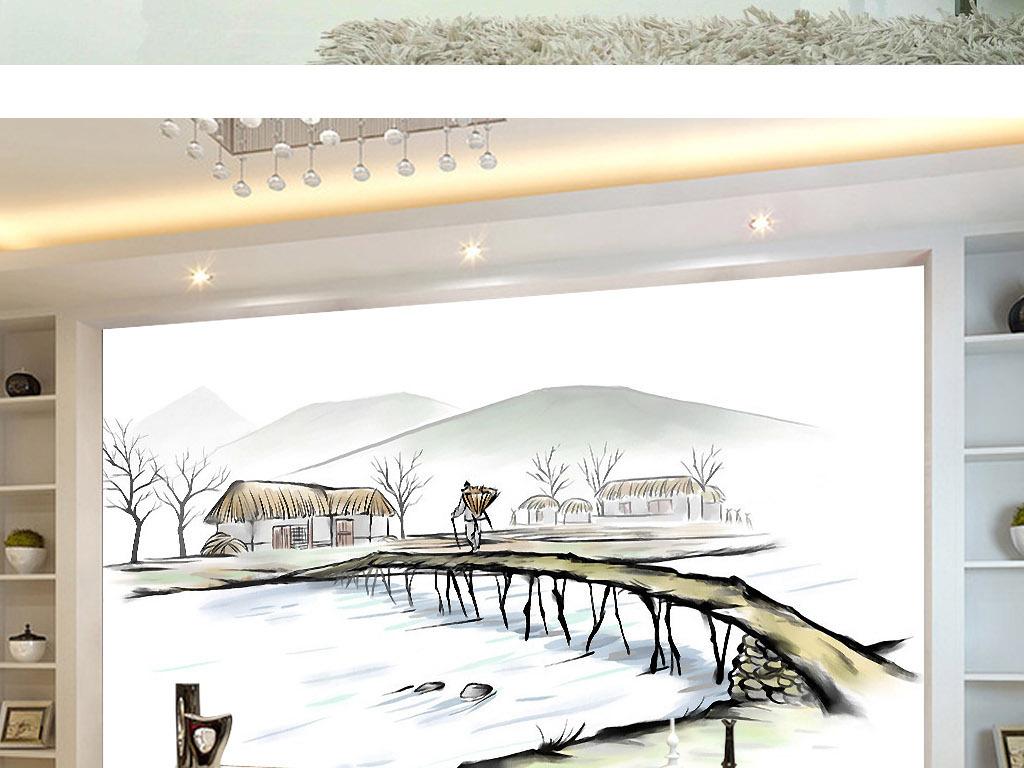 故乡的原风景中国风手绘水彩新中式背景墙画