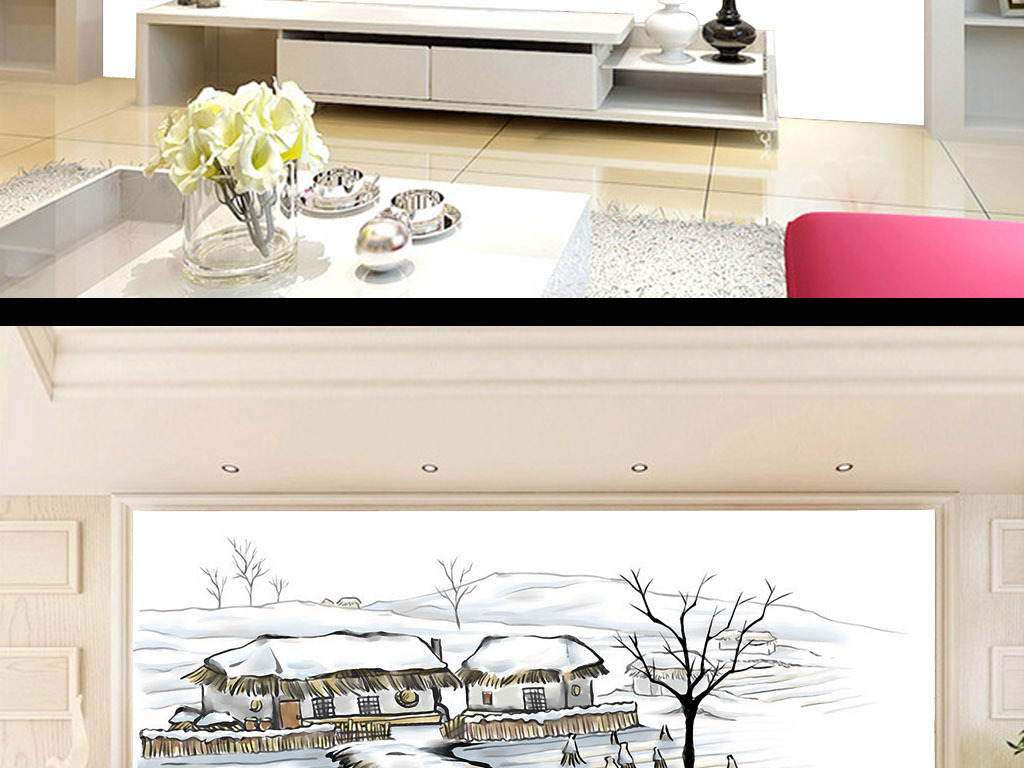 乡的雪手绘乡村风景唯美简约水彩画背景墙