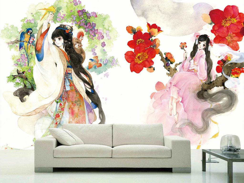 电视背景墙 手绘电视背景墙 > 窈窕淑女古典中国风现代新中式水彩背景