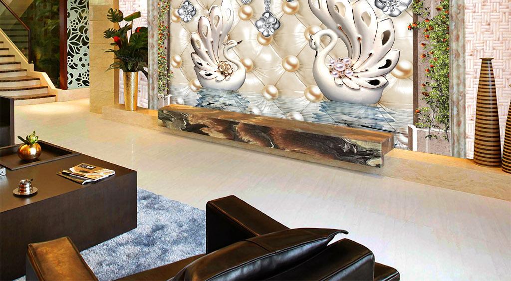 奢华欧式白色天鹅软包珍珠电视背景墙