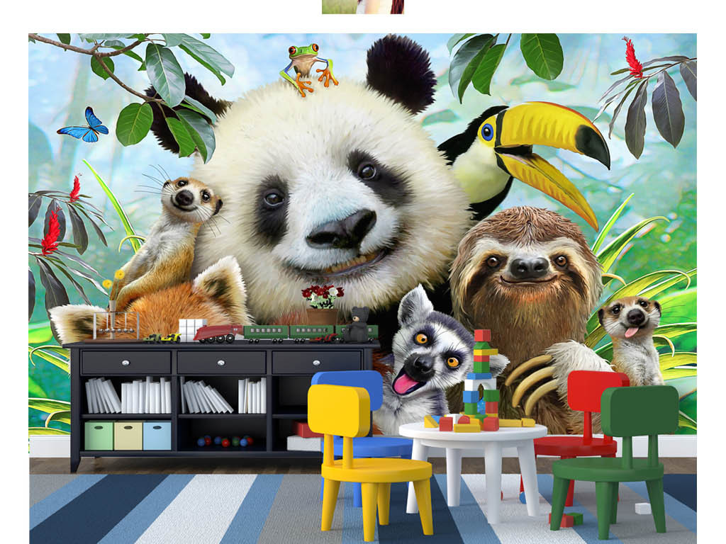 可爱卡通动物园一群动物自拍儿童房背景墙