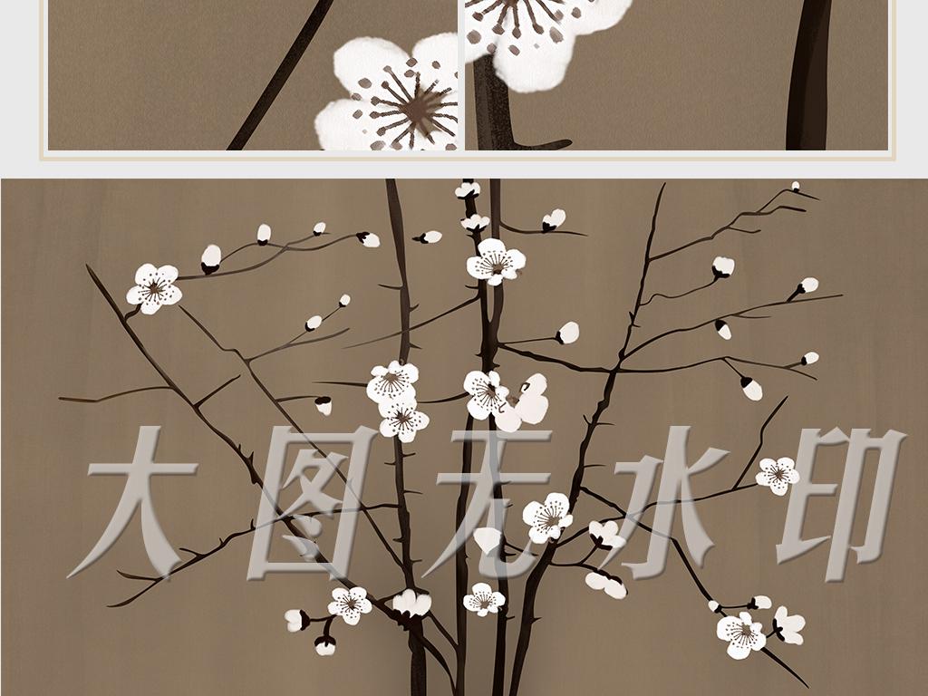中式手绘工笔梅花背景墙装饰画