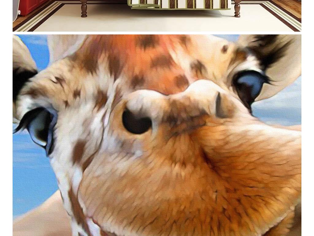 可爱卡通草原一群动物自拍像儿童房背景墙