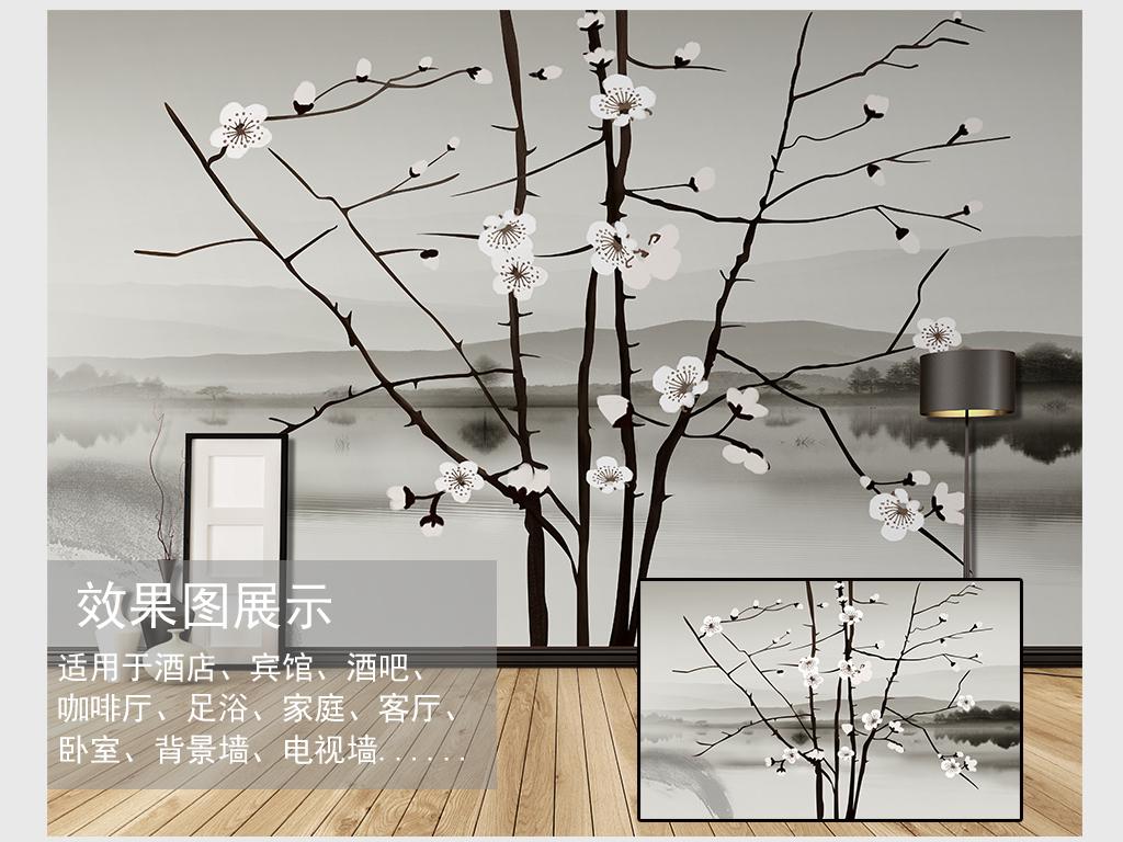 中式手绘梅花山水背景装饰画