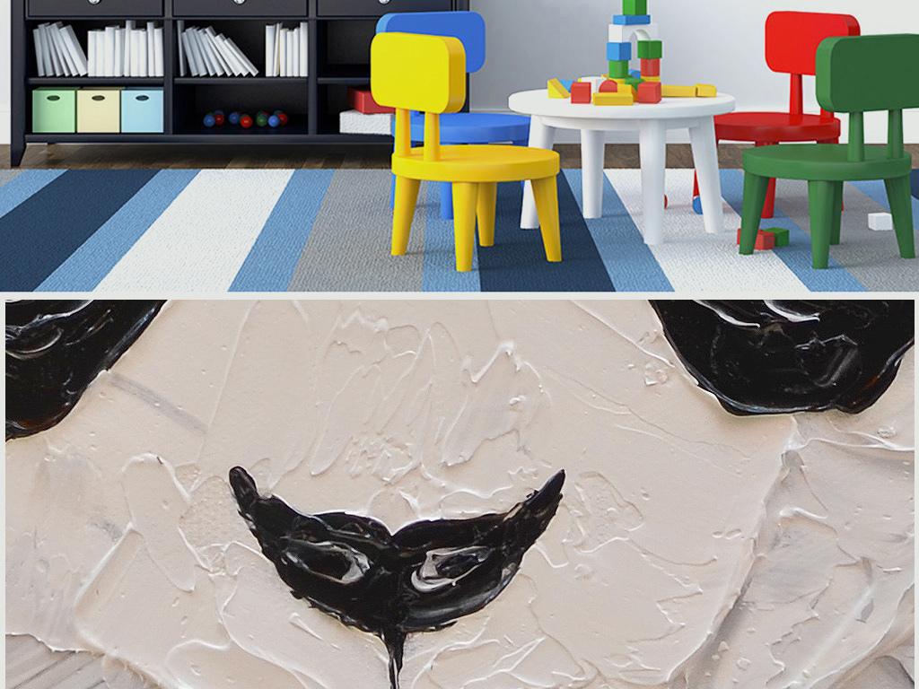 卡通动物纯手绘立体儿童房装饰油画