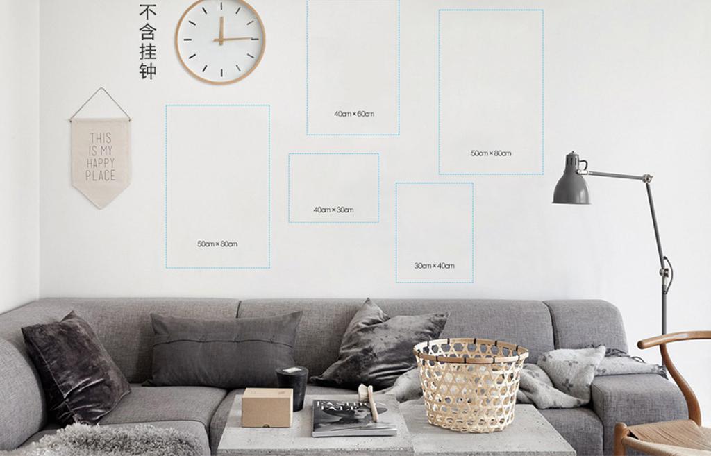 北欧现代简约黑白无框画抽象照片墙