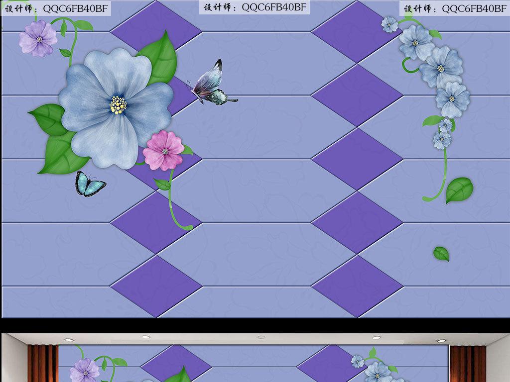 软包手绘蝴蝶花背景墙