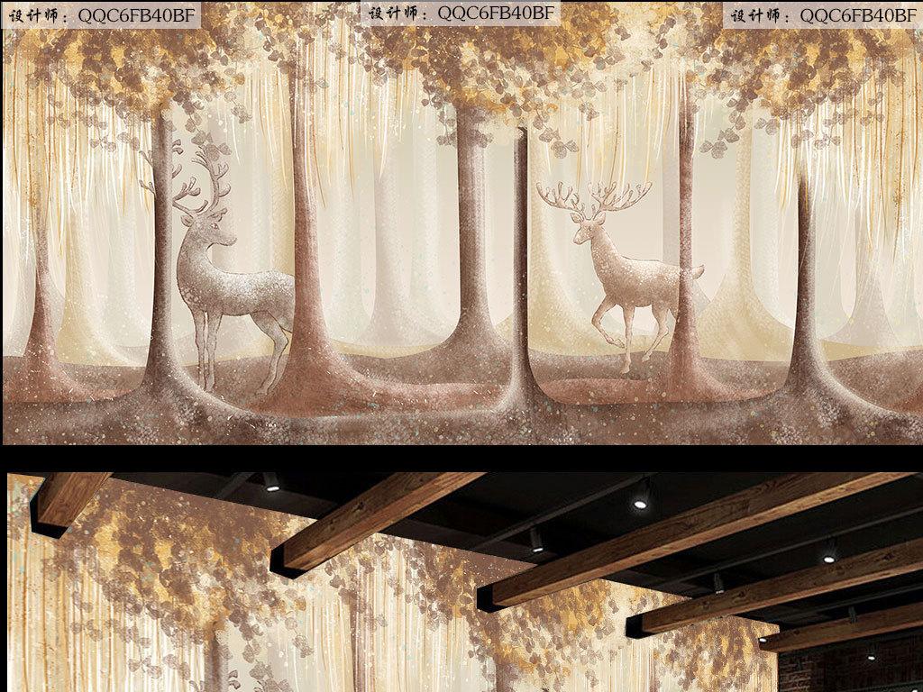 麋鹿森林工装手绘背景墙