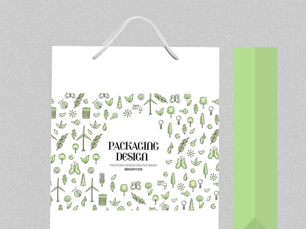 儿童用品服饰环保手提袋包装设计图片