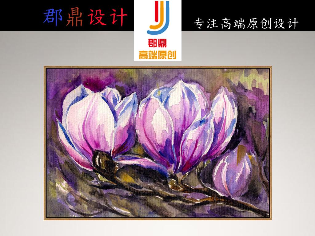 巨幅手绘油画白色玉兰花粉红色花朵