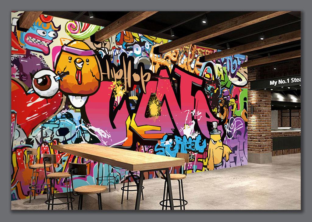 字母涂鸦酒吧ktv背景墙图片