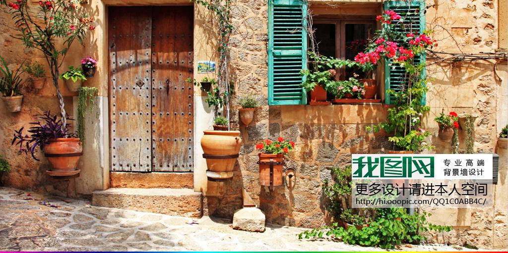 欧洲意大利小镇欧式街道风景画背景墙