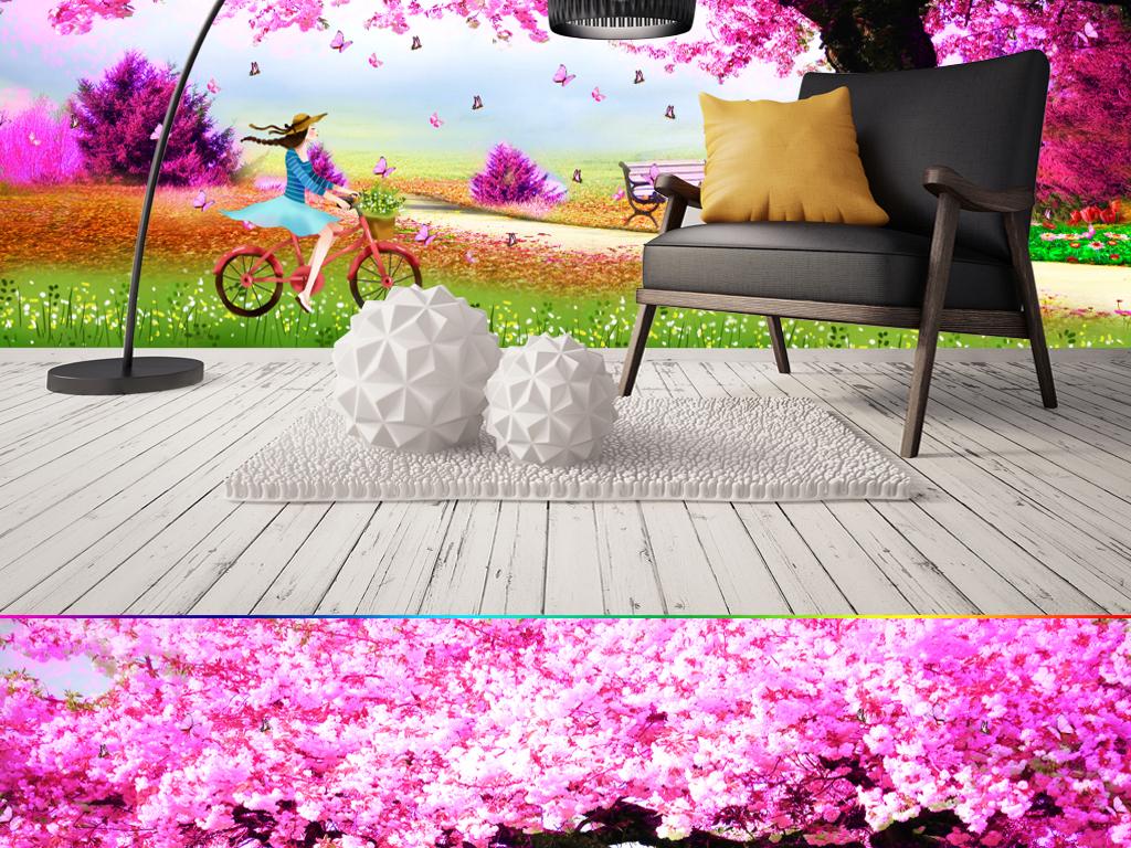 浪漫唯美樱花树婚房卡通壁画背景墙