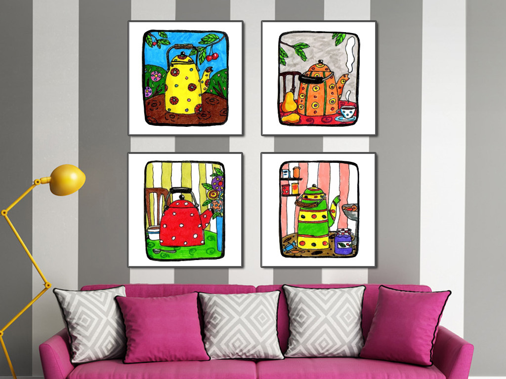 艺术咖啡厅儿童房卧室客厅ktv酒吧沙龙地毯矢量茶壶图片