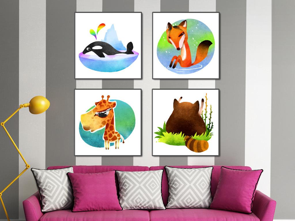 卡通动物手绘水彩画现代简约装饰画