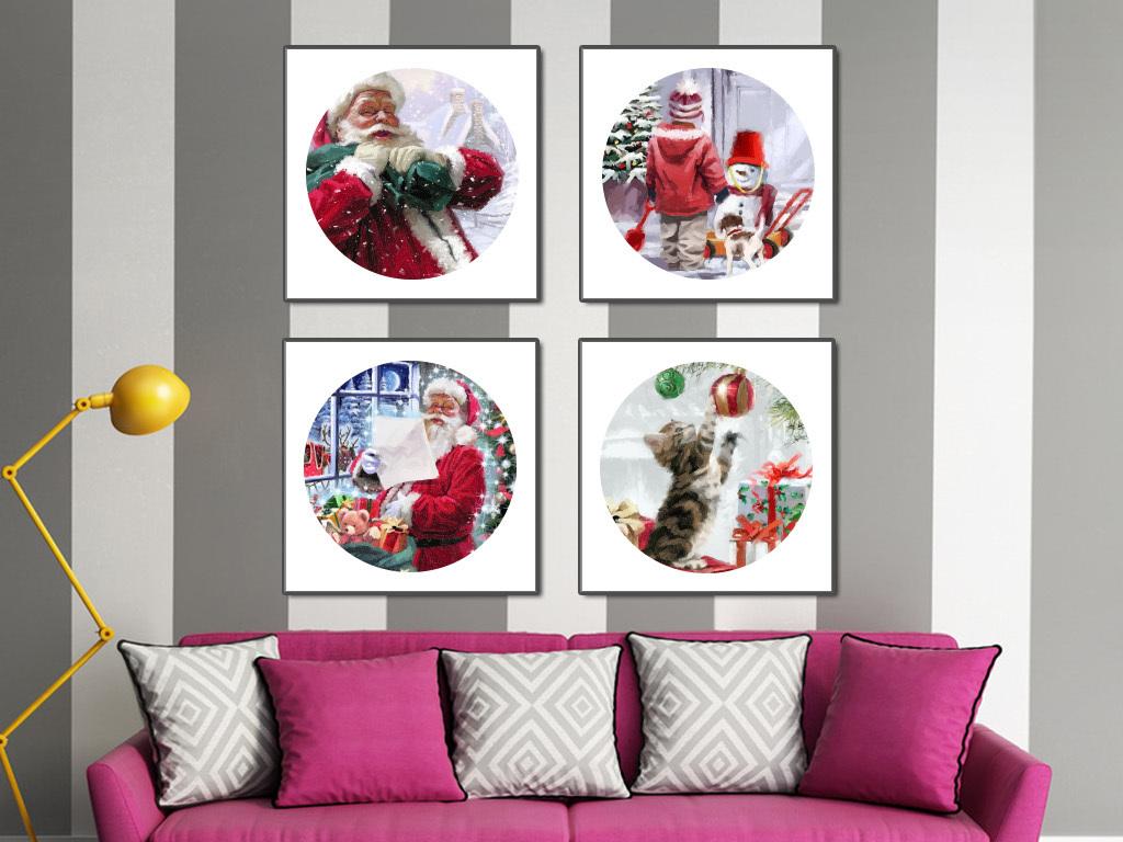 圣诞节手绘水彩画现代简约装饰画