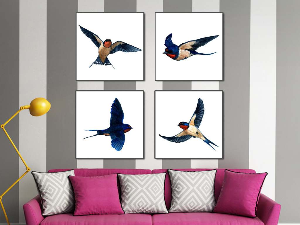 燕子手绘水彩画现代简约装饰画