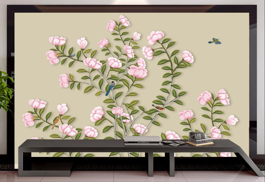 手绘花鸟高清手绘工笔画花鸟图背景墙