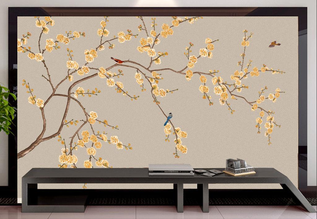 手绘背景                                  无缝花鸟手绘迎客松壁画