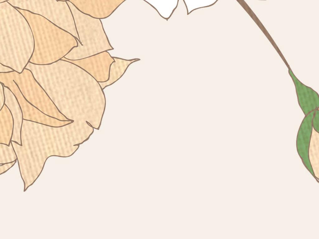 淡雅手绘复古玫瑰花蝴蝶电视背景墙