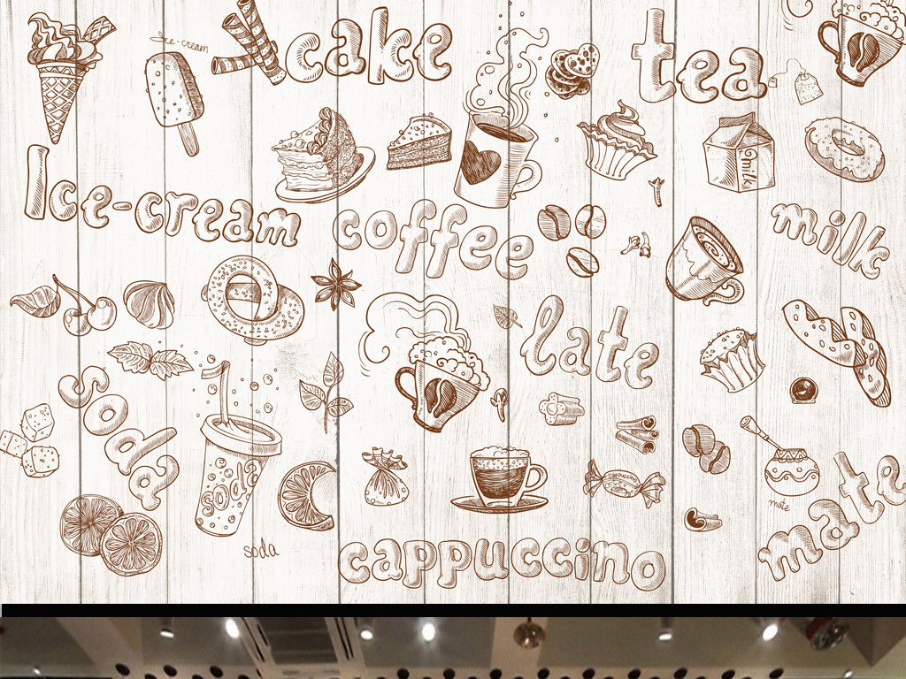 手绘涂鸦艺术面包房西式餐厅工装背景墙