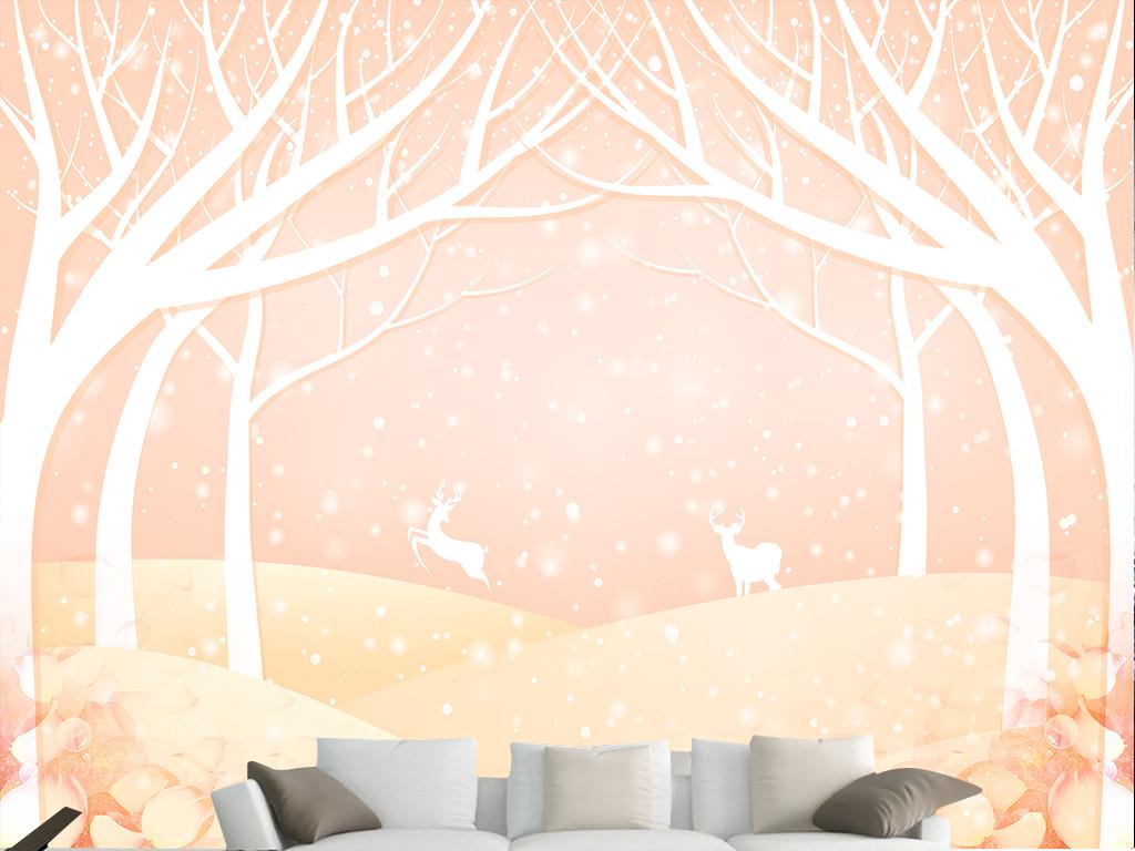 麋鹿梦幻森林背景墙