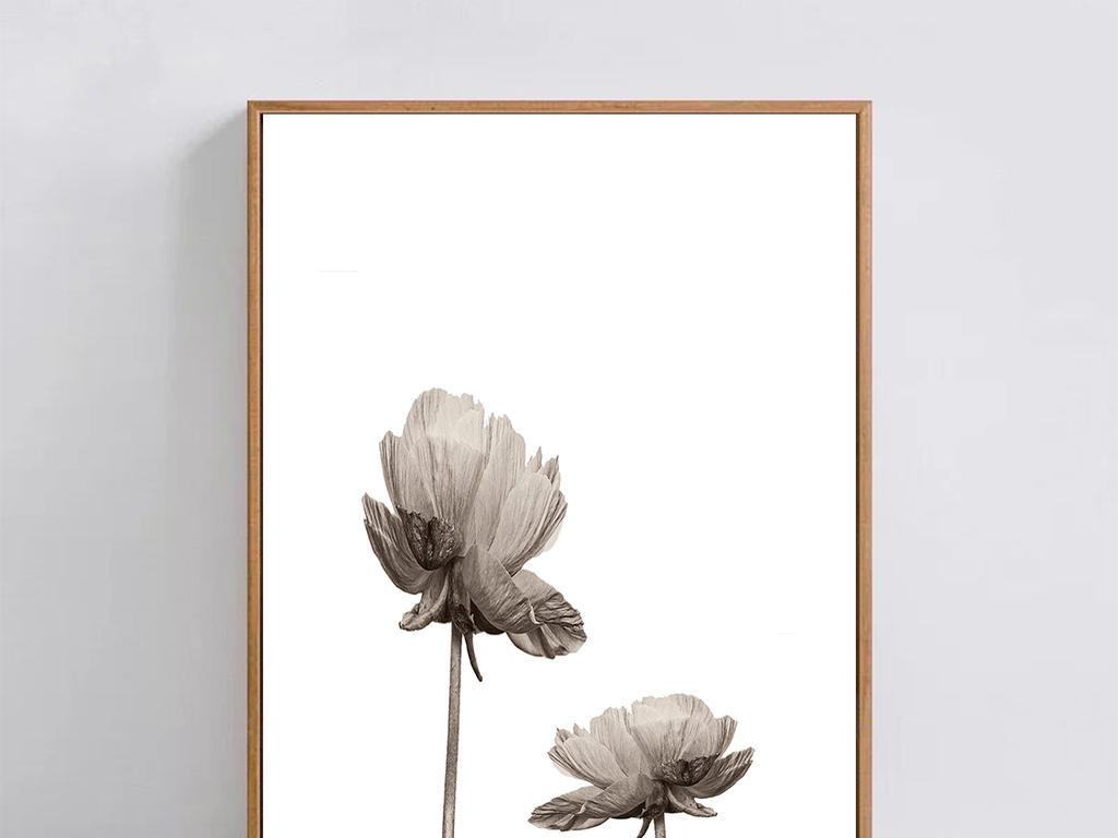 简约手绘水墨花卉无框画