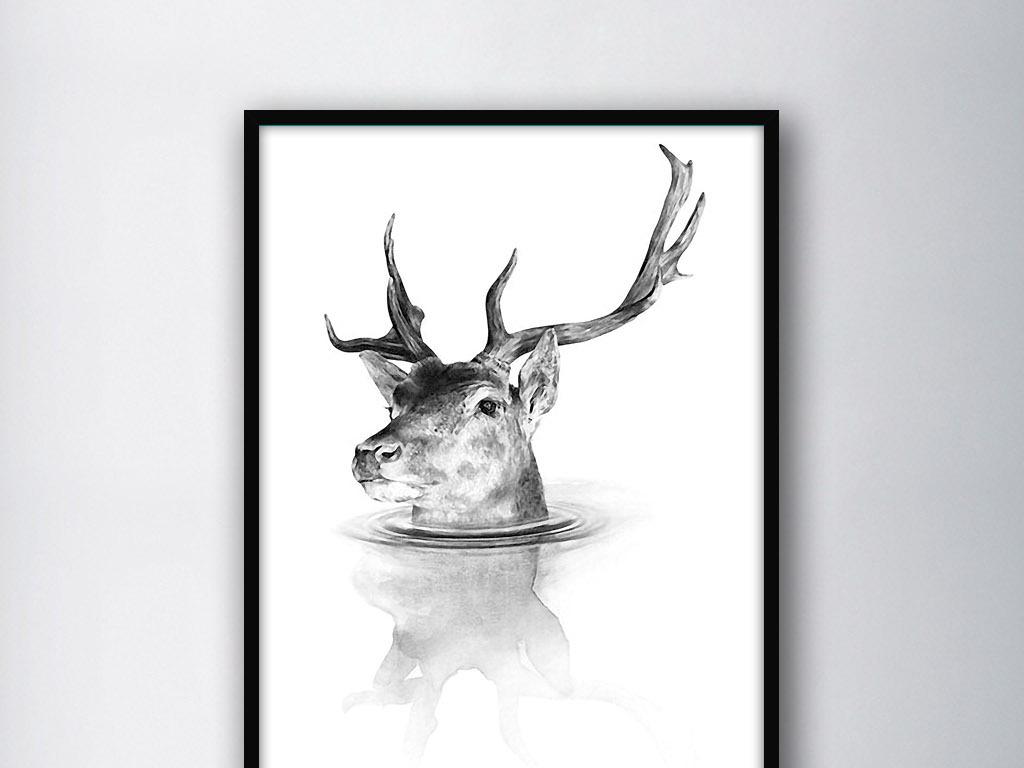 北欧简约手绘黑白过河的麋鹿欧式家居装饰画