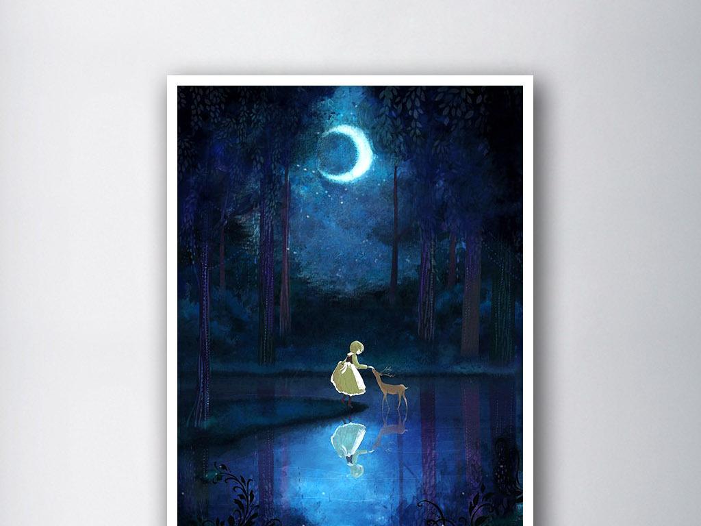 星空鹿水彩画手绘教程分享展示